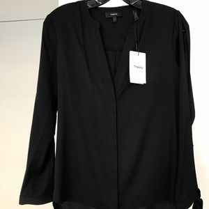Theory black silk tunic